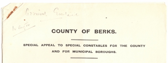Appeal to Special Constables August 1914
